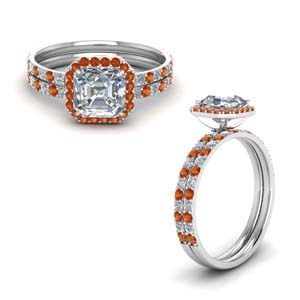 Orange Sapphire Halo Wedding Set