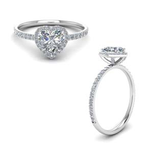 Lab Created Diamond Heart Halo Ring