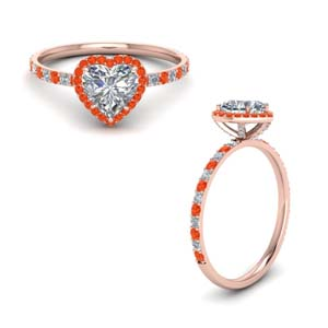 Orange Topaz With Diamond Ring