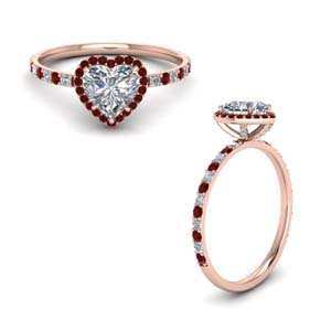 Stud Prong Halo Ruby Ring