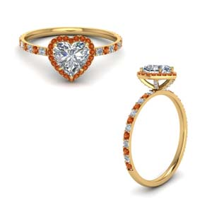 Halo Ring With Orange Sapphire