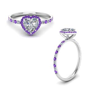 Heart Halo Ring With Purple Topaz