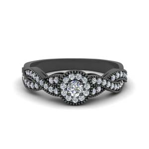14K Black Gold Halo Round Cut Ring