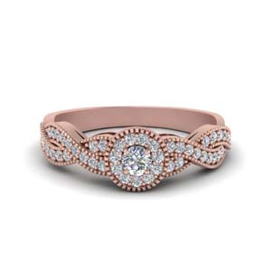14K Rose Gold Milgrain Diamond Ring