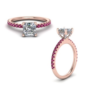 Pink Sapphire Under Halo Ring