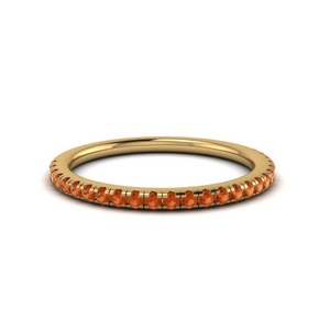 delicate anniversary band with orange sapphire in FD8523BGSAOR NL YG GS