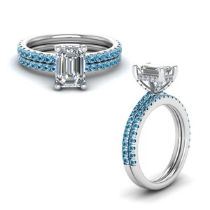 Emerald Cut Topaz Wedding Set