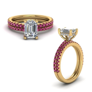 pink sapphire prong emerald cut diamond petite bridal set in FD8523EMGSADRPIANGLE1 NL YG GS