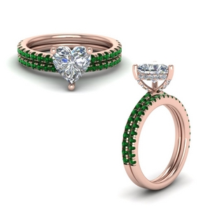 Emerald U Prong Bridal Set