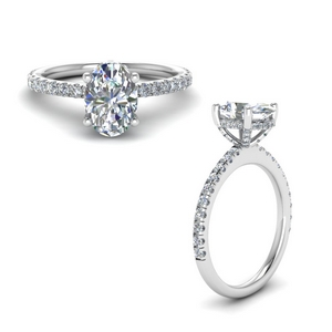 Oval Diamond Hidden Halo Ring