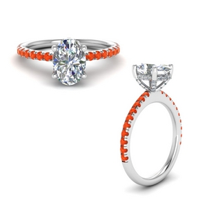 3 Ct. Orange Topaz Engagement Ring