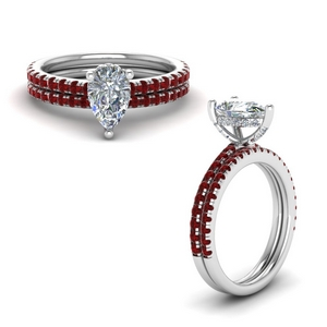 Pear Shaped Ruby Bridal Set