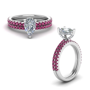 Delicate Pink Sapphire Wedding Set