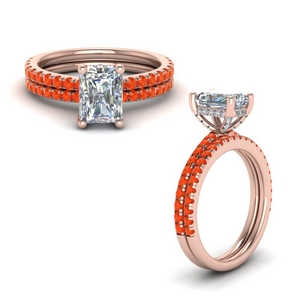 14K Rose Gold Bridal Ring Set