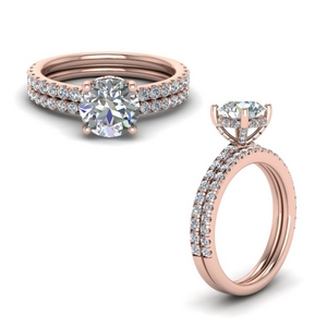 Delicate Round Diamond Ring Set