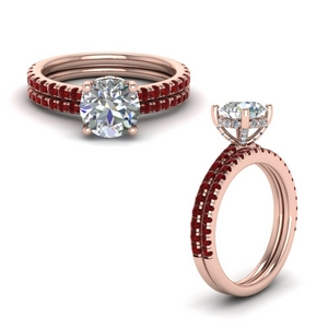 diamond prong round petite bridal set with ruby in FD8523ROGRUDRANGLE1 NL RG GS