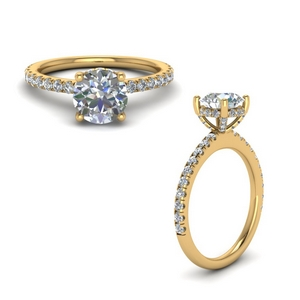 High Set Under Halo Diamond Ring