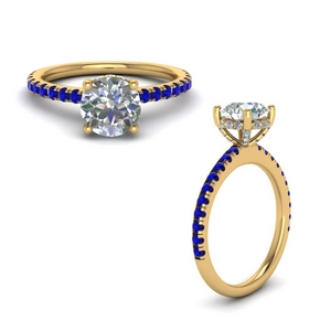 high set under halo diamond engagement ring with sapphire in FD8523RORGSABLANGLE1 NL YG GS