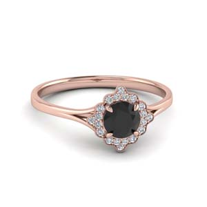 Milgrain Halo Black Diamond Ring