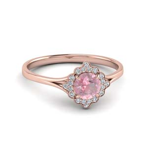 Vintage Halo Pink Morganite Ring