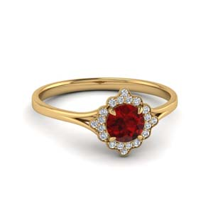 Milgrain Ruby Halo Ring