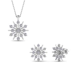 snowflake earring and pendant set sale in 14K white gold FD8533 NL WG