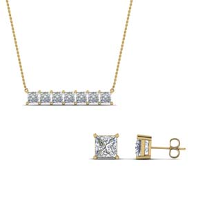 sale on princess cut earing with pendant set in 14K yellow gold FD8540 NL YG