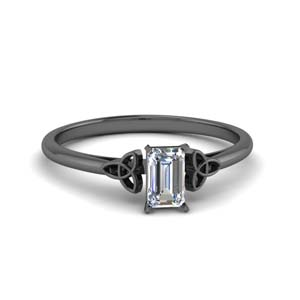 Black Gold Celtic Emerald Cut Ring