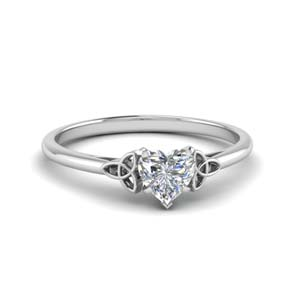 celtic heart shaped solitaire engagement ring in FD8541HTR NL WG