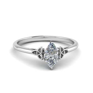 celtic marquise cut solitaire engagement ring in FD8541MQR NL WG