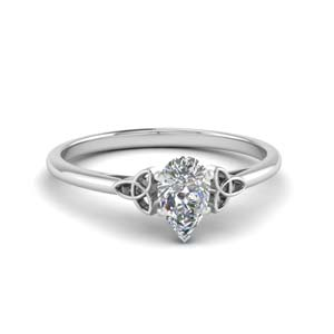 celtic pear shaped solitaire engagement ring in FD8541PER NL WG