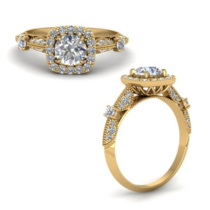 Halo Diamond Antique Ring