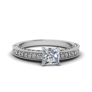 celtic engraved princess cut solitaire engagement ring in FD8544PRR NL WG