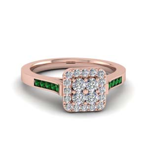 Emerald Square Halo Ring