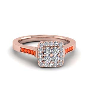 Rose Gold Orange Topaz Ring