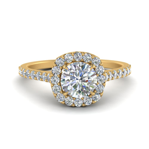 0.90 Ct. Square Halo Diamond Ring