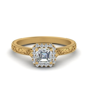 Engraved Asscher Cut Halo Ring