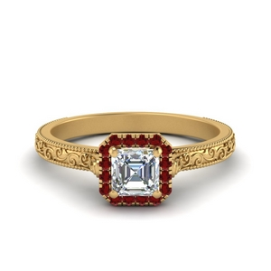 Asscher Cut Engagement Ring With Halo