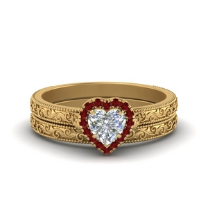 Heart Shaped Halo Wedding Ring Set