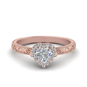 Heart Engagement Rings With Halo