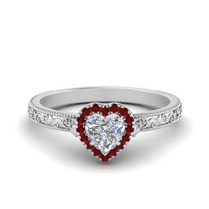 Halo Heart Shaped Engagement Ring