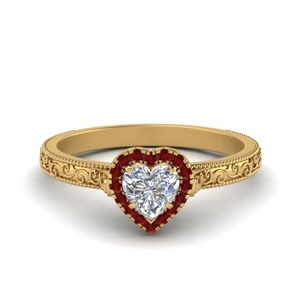 hand engraved heart shaped halo diamond engagement ring with ruby in FD8588HTRGRUDR NL YG