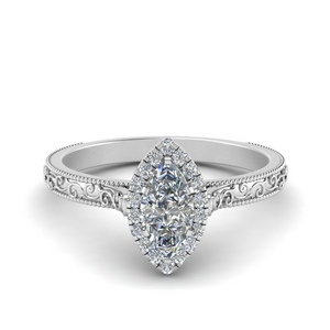 hand engraved marquise cut halo diamond engagement ring in FD8588MQR NL WG