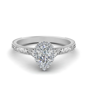 Pear Shaped Moissanite Halo Ring