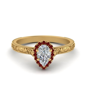 Hand Engraved Halo Ruby Ring