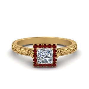 Square Princess Cut Milgrain Ring