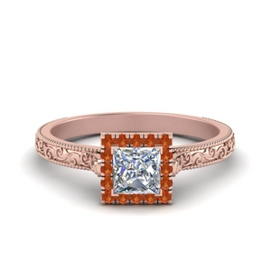 Vintage Orange Sapphire Ring With Halo