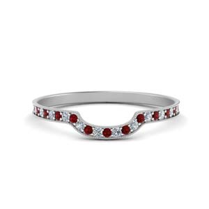 Ruby Pave Curved Wedding Band