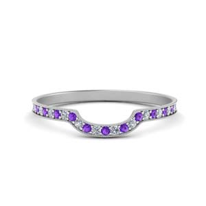 Purple Topaz Pave Diamond Band