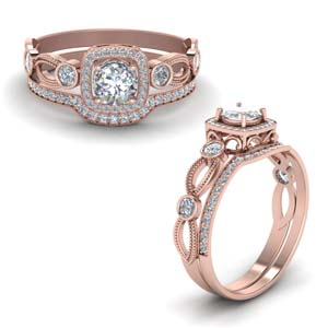Square Halo Wedding Ring Set